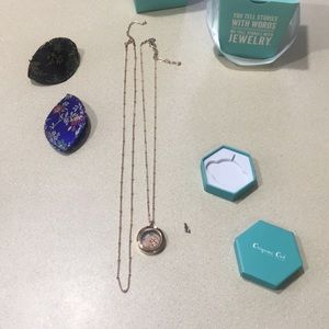 Small rose gold necklaces with hope plate